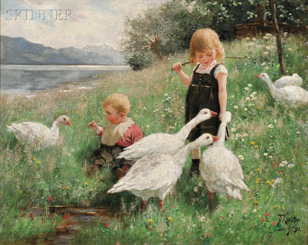 Alexander Max Koester (German, 1864-1932)Children and Geese in a Lakeside Meadow