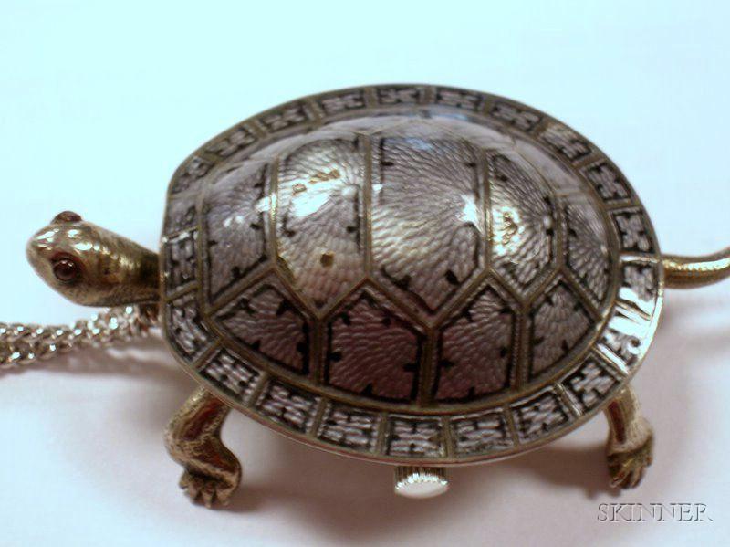 Tissot Grey Enamel Turtle-form Pendant Watch.