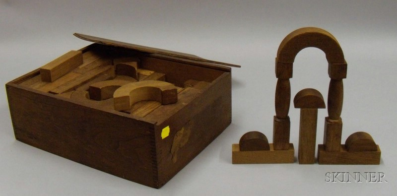 Set of Late 19th/Early 20th Century Architectural Wooden Building Blocks