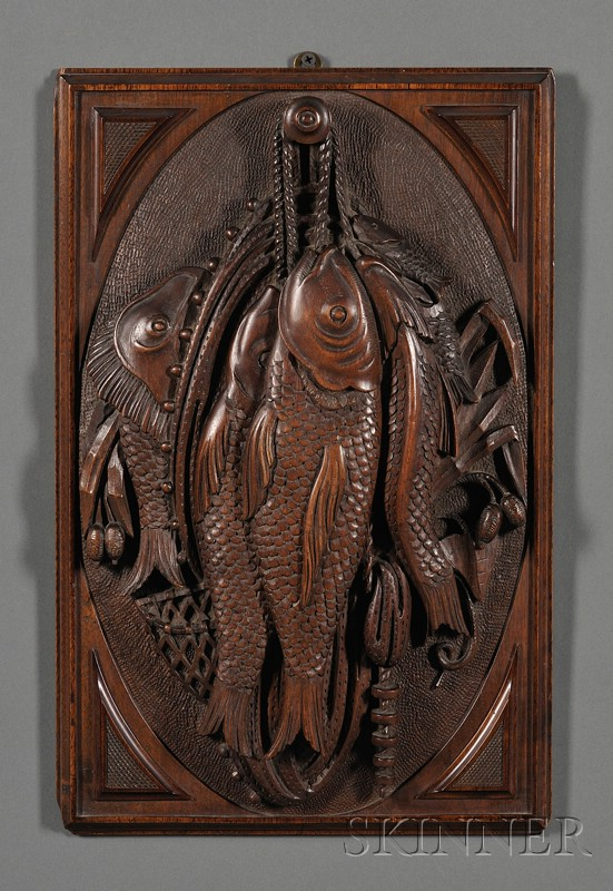 Two Relief-carved Walnut Panels with Hanging Game and Fish