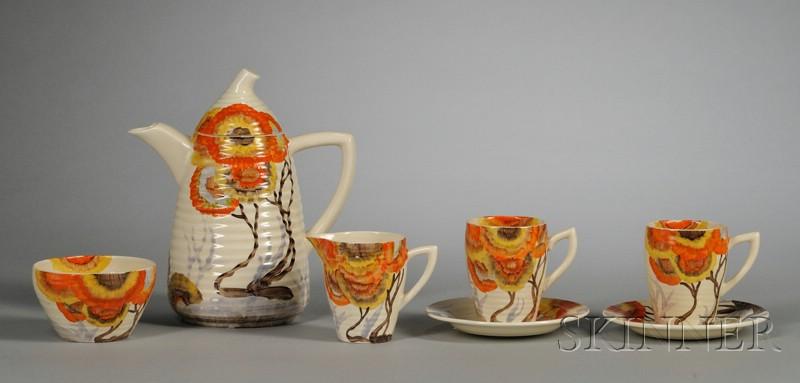 Clarice Cliff Bizarre Ware Five-Piece Coffee Set