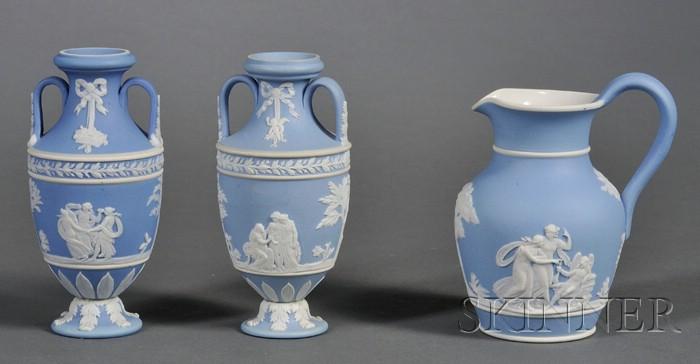 Three Wedgwood Light Blue Jasper Dip Items