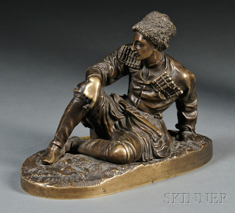 After Evgeni Alexandrovich Lanceray (Russian, 1848-1886)       Bronze Figure of a Cossack Soldier