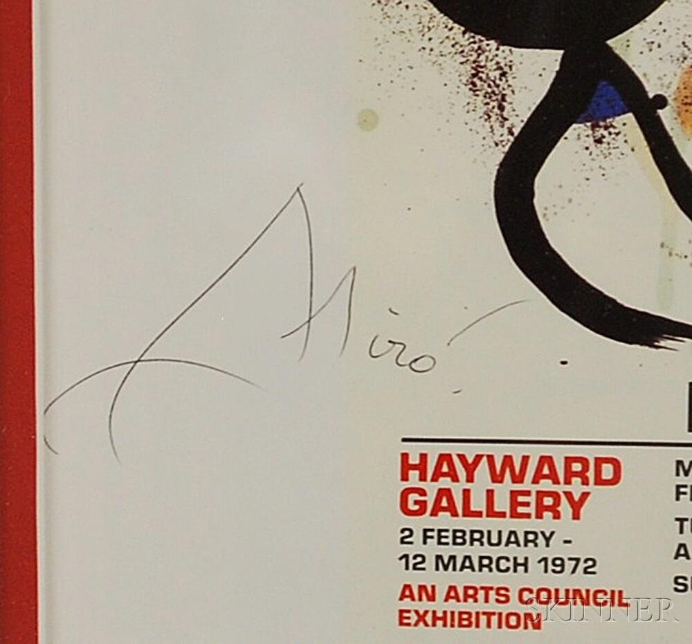 After Joan Miró (Spanish, 1893-1983)      Miro Bronzes/Hayward Gallery Exhibition Poster.