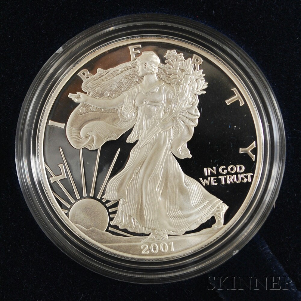 Sixteen Cased Silver Bullion American Eagle Dollar Coins.     Estimate $200-400