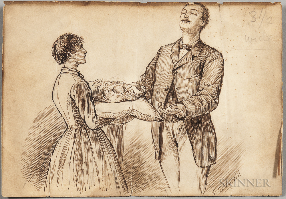Alcott, Louisa May (1832-1888) Autograph Note on Verso of Original Frank T. Merrill (1848-1923) Illustration for Little Women.