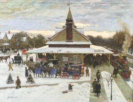 John Phillip Falter (American, 1910-1982)    Chestnut Hill Train Station