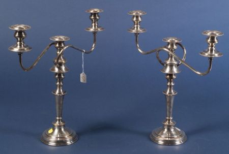 Pair of Silver Plate Three Light Convertible Candelabra
