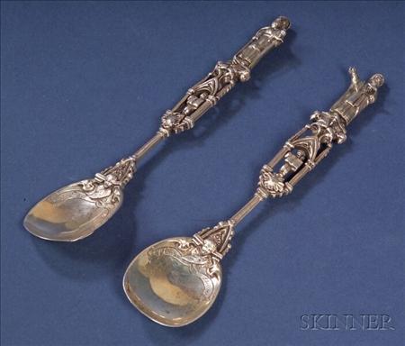 """Pair of German Silver """"Apostle"""" Spoons"""
