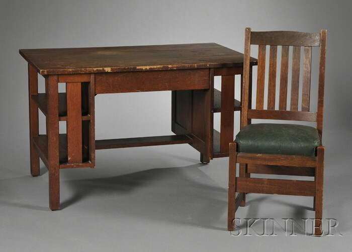 L. & J.G. Stickley Arts & Crafts Oak Desk and Chair