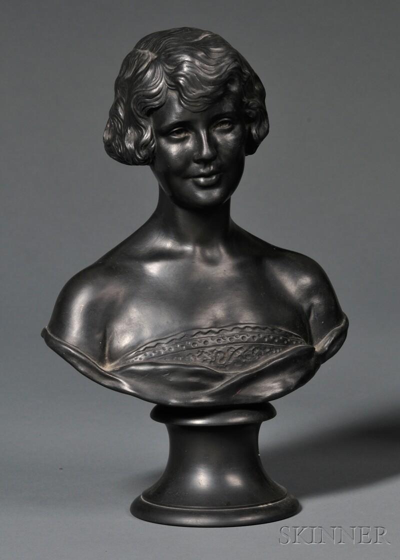 Wedgwood Black Basalt Bust of Justine Johnson