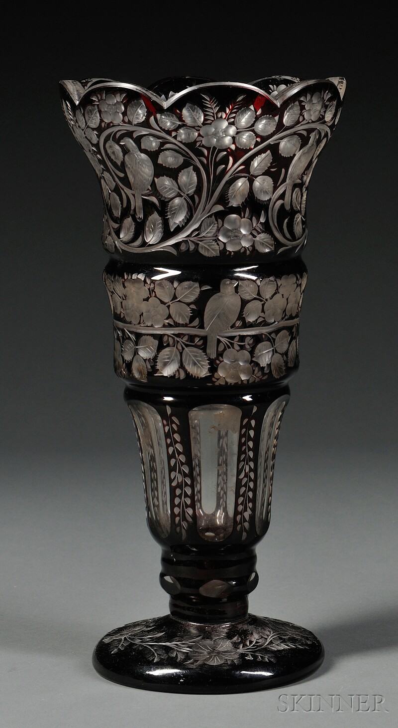 Bohemian Cranberry Cut-to-clear Glass Vase