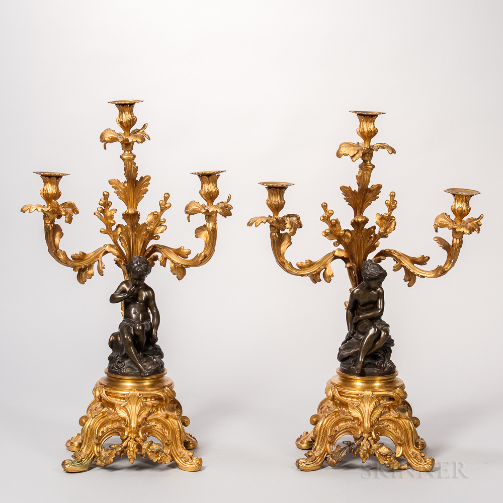 Pair of Patinated and Dore Bronze Figural Candlesticks