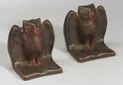 Pair of Van Briggle Pottery Owl Bookends