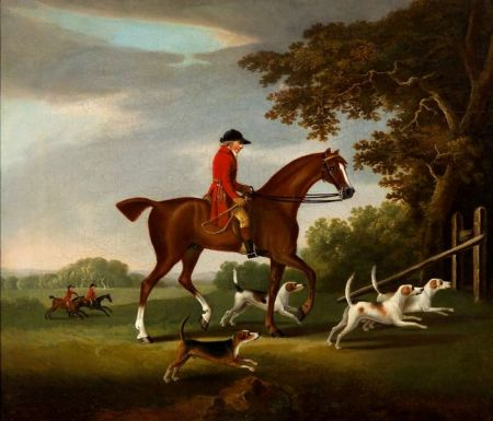 Attributed to John Nost Sartorius (British, 1759-1828)    Hunter on Mount with Hunting Dogs