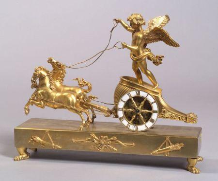 French Empire-style Gilt Bronze Figural Mantel Clock