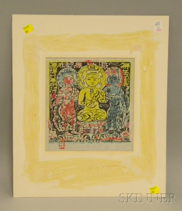 After Munakata Shiko Colored Woodblock Print The Buddha with Bodhisattvas