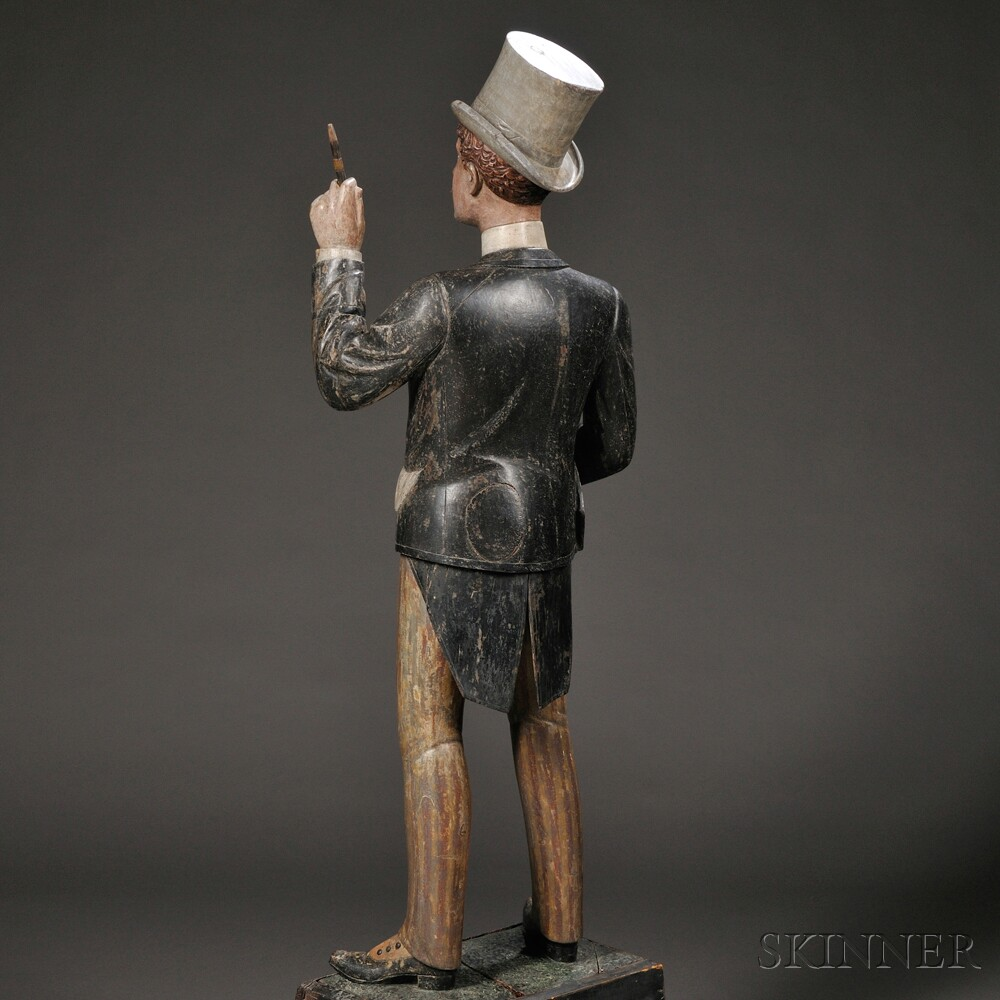Carved and Polychrome-painted Racetrack Tout Tobacconist Figure