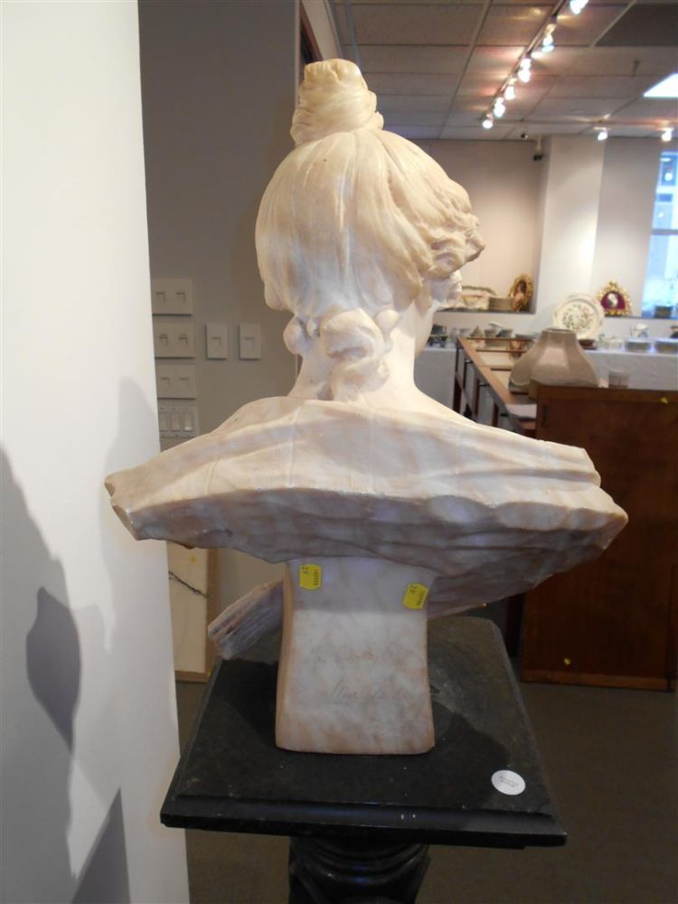 E. Battaglia (Italian, fl. Late 19th Century)       Alabaster Bust of a Woman Titled Iris