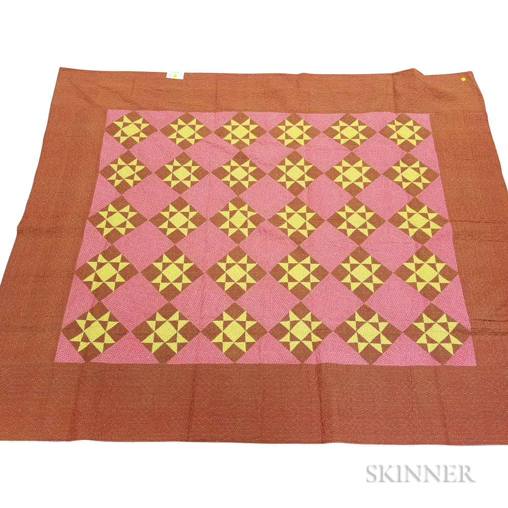 "Pieced Cotton ""Eight-point Star"" Mennonite Quilt"
