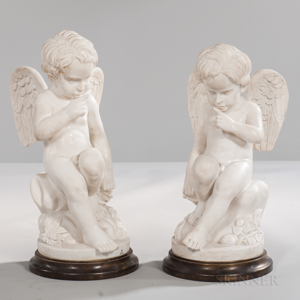 Pair of Carrara Marble Figures on Bronze Bases