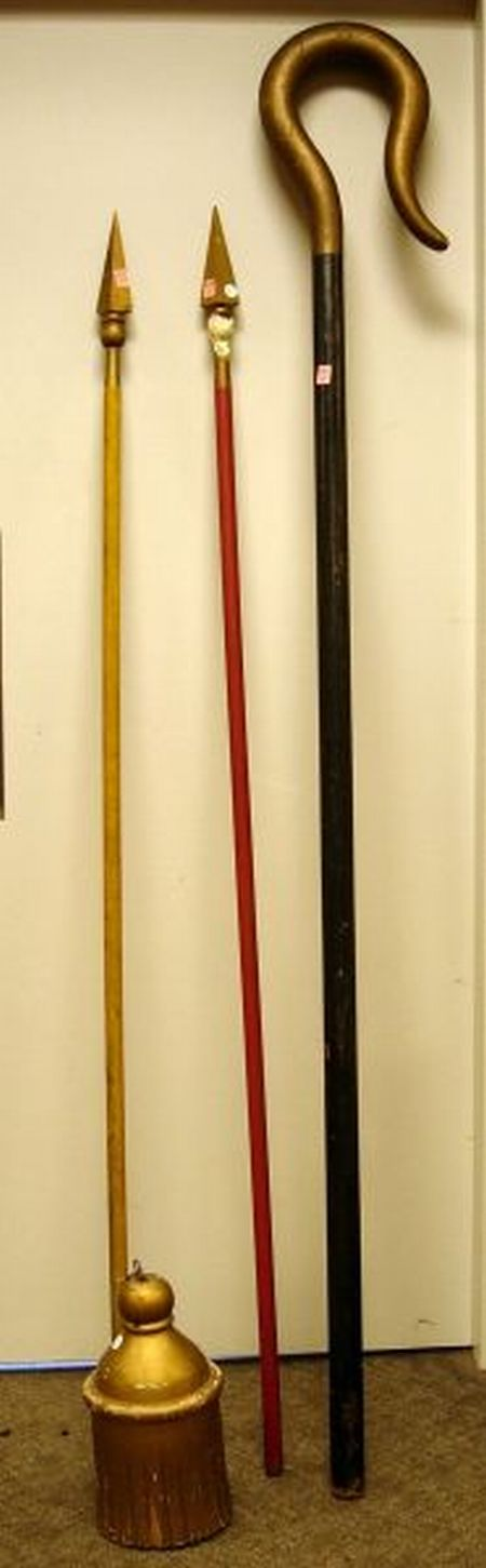 Fraternal Gold Painted Carved Wooden Tassel, a Painted Odd Fellows Staff, and Two Carved and Painted Spears....
