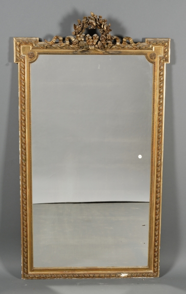 Louis XVI Style Giltwood and Gilt Composition Looking Glass