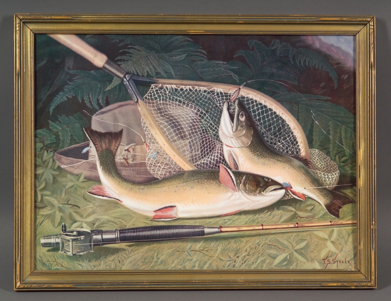 Framed Embossed Chromolithograph Trout Fishing Print and a Framed Flyfishing   Print