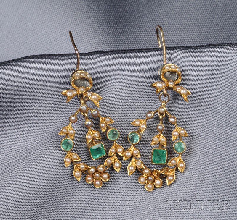 18kt Gold, Emerald, and Seed Pearl Earpendants