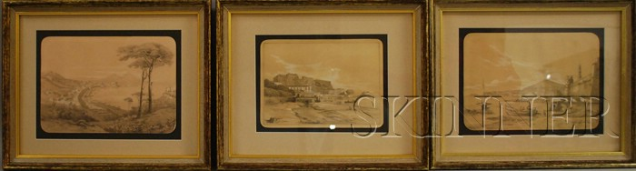 George Loring Brown (American, 1814-1889) Lot of Three Neapolitan Views: Veduta della tomba di Virgilio, Castello dell Uovo e strad...