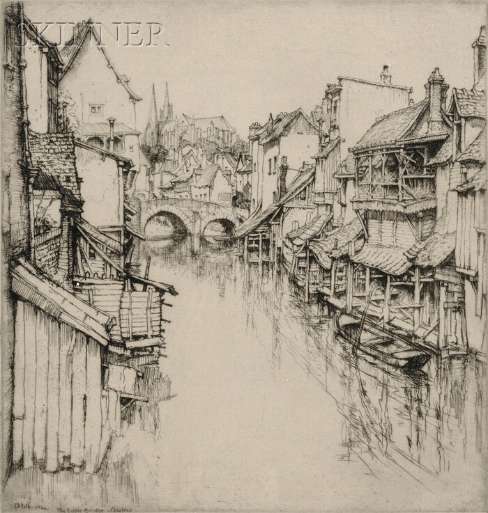 Ernest David Roth (American, 1879-1964)      The Little Bridge, Chartres