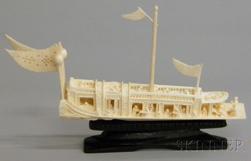 Cased Asian Miniature Carved Ivory Boat Model