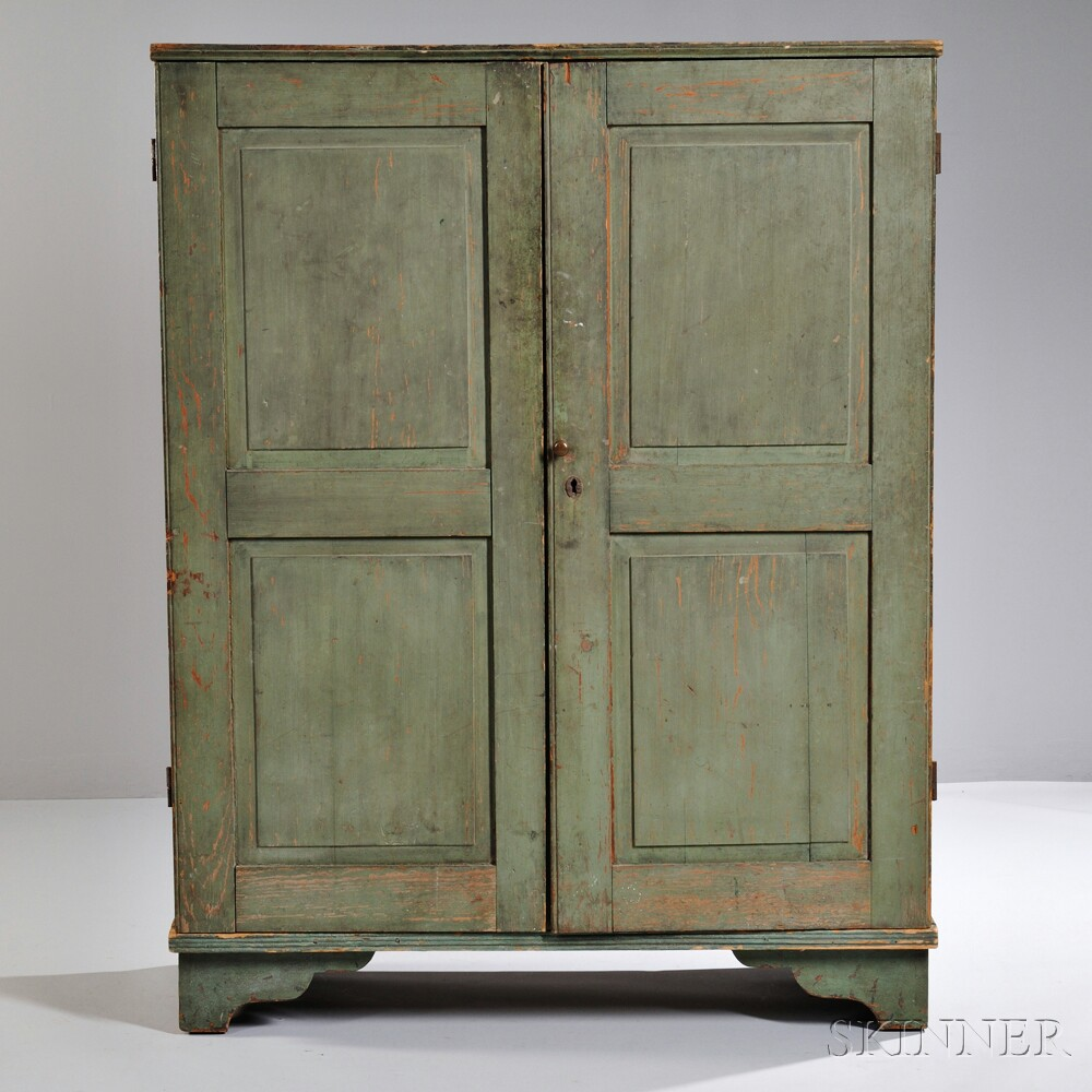 Light Green/Blue-painted Apothecary Cupboard