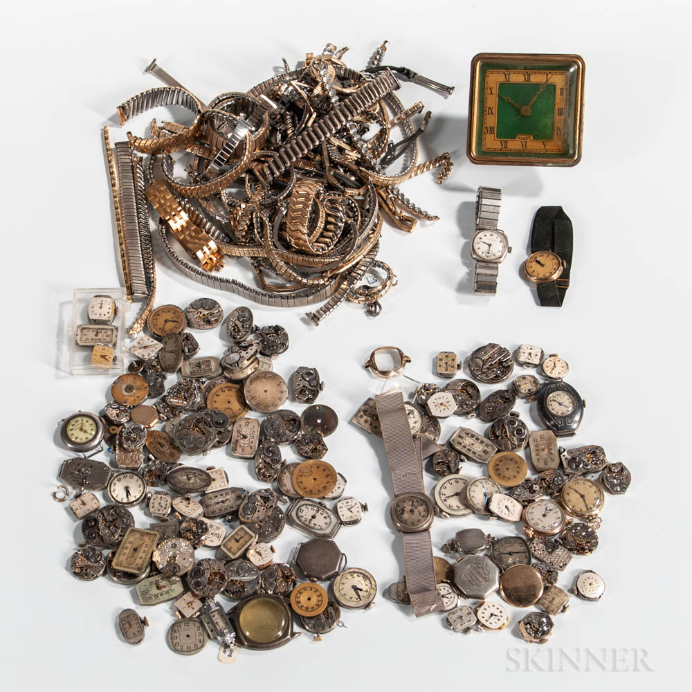 Collection of Wristwatch Movements, Dials, and Bracelets