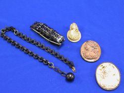 Three Victorian Lava Articles, a Tortoise-Piquet Bracelet, and a Chain.