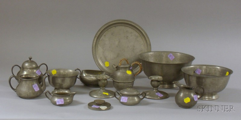 Fourteen Pieces of Assorted Pewter Tableware