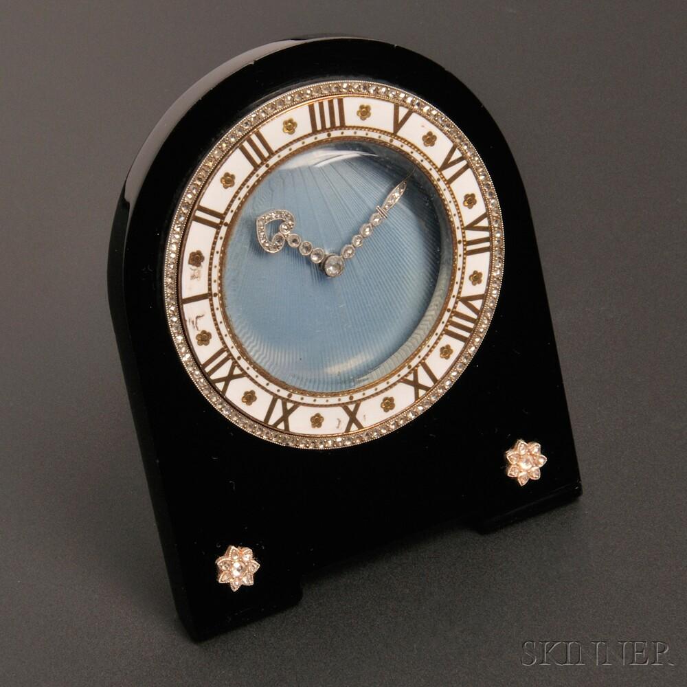 Art Deco Onyx, Enamel, and Diamond Pendulette, Cartier, Paris