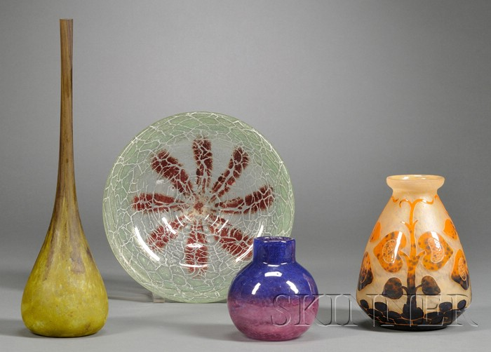 Three Art Glass Vases and A Bowl