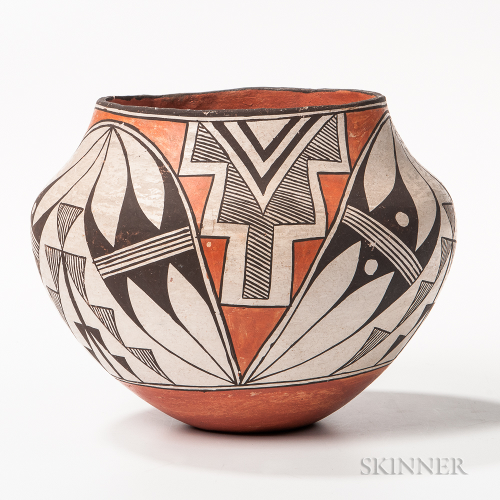 Acoma Polychrome Pottery Seed Pot
