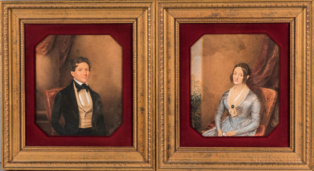 George Freeman (Connecticut, 1787/89-1868)      Pair of Portraits of a Gentleman and Lady