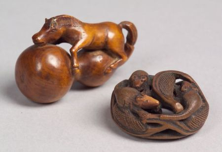 Two Wooden Netsuke