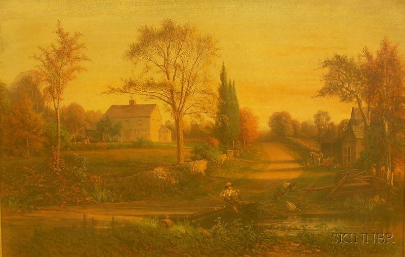 Framed Louis Prang Chromolithograph Landscape in Period Gilt-gesso Frame