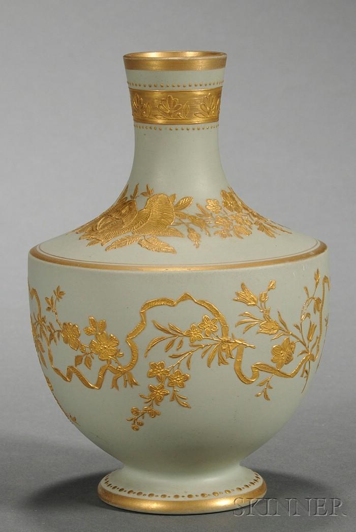 Wedgwood Gilded Green Stoneware Vase