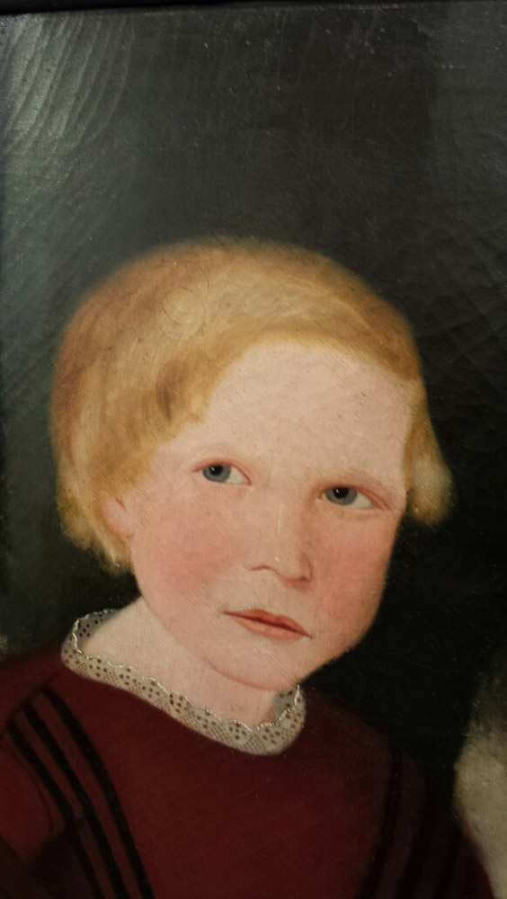 Attributed to Susan Catherine Moore Waters (New York/New Jersey, 1823-1900)  Portrait of a Blond Child in a Dark Red Dress wi...