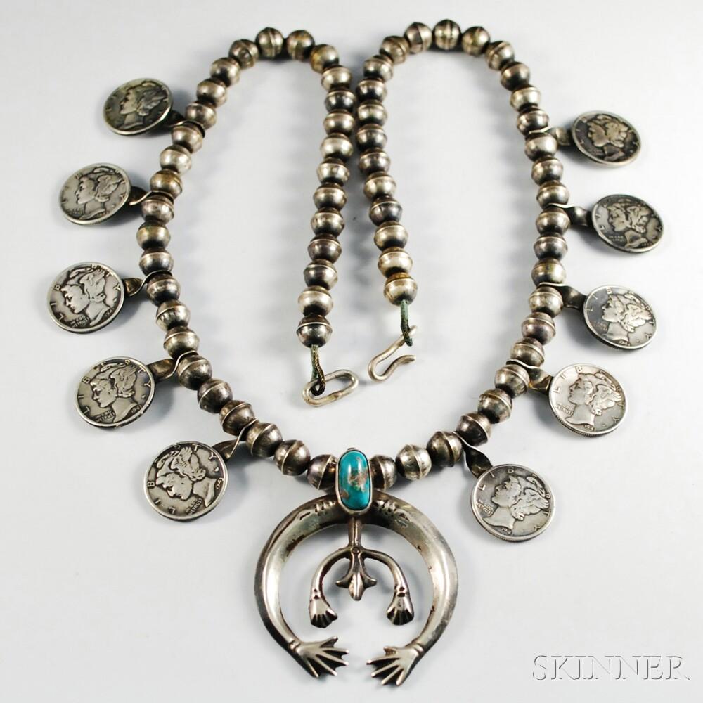 Navajo Mercury Head Dime Necklace