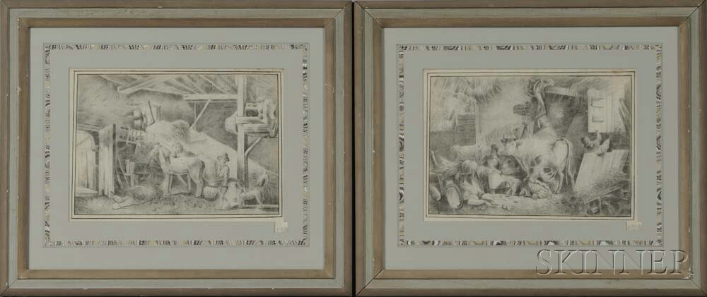 British School, 19th Century      Two Drawings of Barn Interiors with Animals and Children