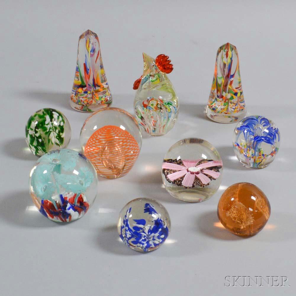 Ten Art Glass Paperweights