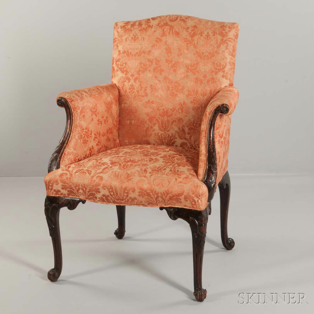 George III-style Upholstered and Carved Mahogany Armchair