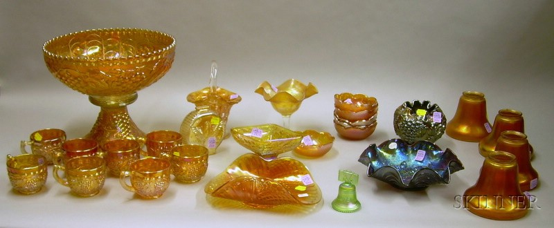 Twenty-seven Pieces of Carnival Glass Tableware and Articles