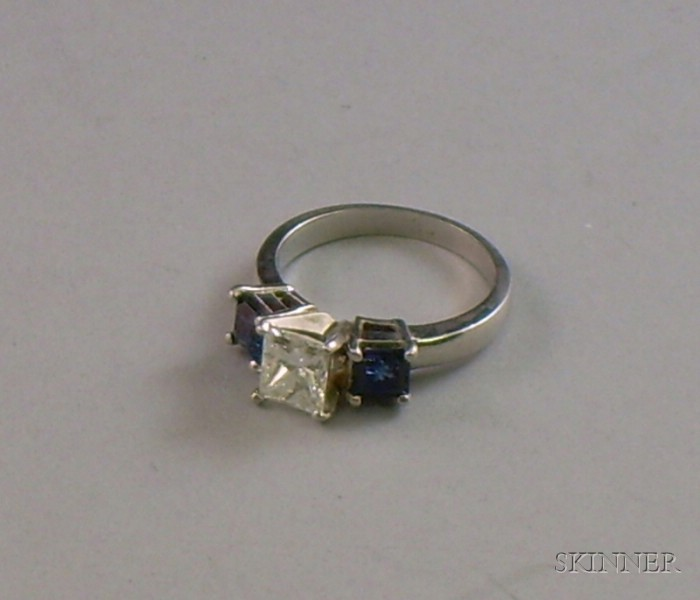 Platinum Princess-cut Diamond and Sapphire Ring